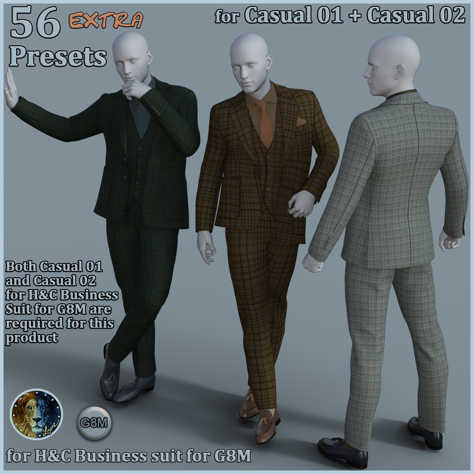 56 extra Presets for Casual 01 plus Casual 02 for H and C Business Suit for G8M