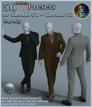 56 extra Presets for Casual 01 plus Casual 02 for H and C Business Suit for G8M 3D Figure Assets Lyone