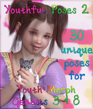Youthful Poses 2 for Youth Morph G3 and G8 3D Figure Assets Angel_Wings