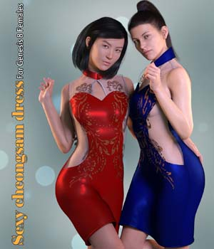 Sexy cheongsam dress 3D Figure Assets CarefreeMonkey