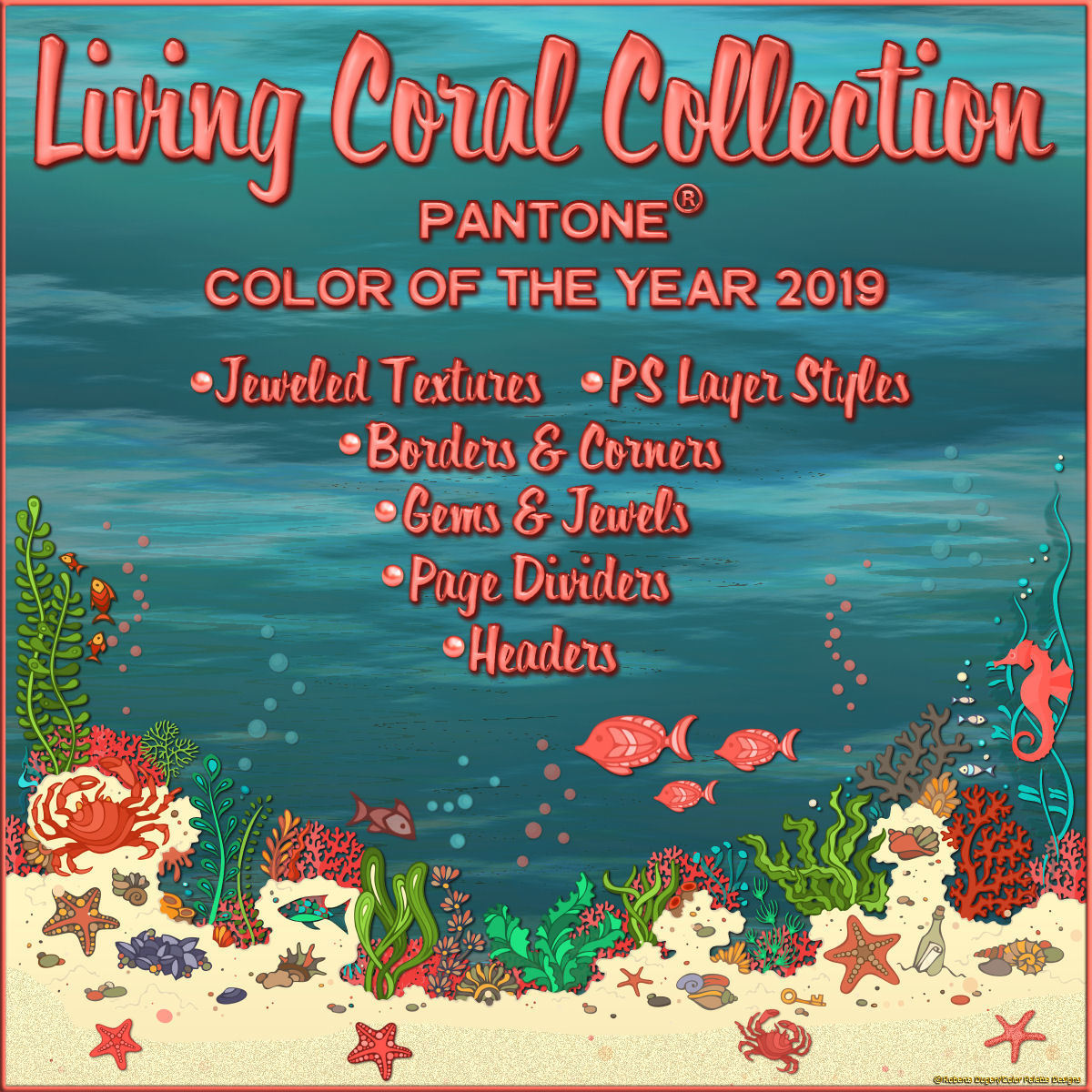 The Living Coral Collection by fractalartist01
