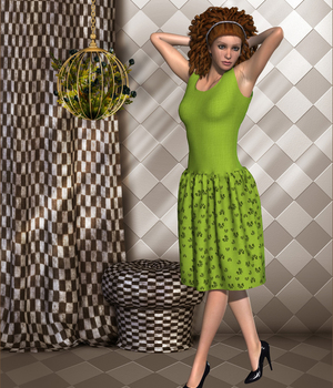 Every day dress for La Femme 3D Figure Assets La Femme Pro - Female Poser Figure FLDesign