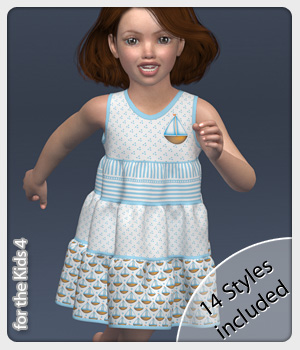 Pia Dress and 14 Styles for the Kids 4 3D Figure Assets karanta