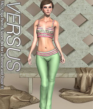 VERSUS - FADS Yoga Pants & Sports Bra for La Femme and Poser 11 3D Figure Assets La Femme Female Poser Figure Anagord
