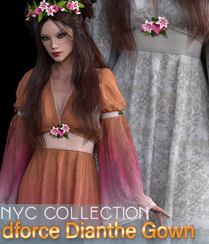 NYC Collection: dForce|Dianthe Gown G8 3D Figure Assets 3DSublimeProductions