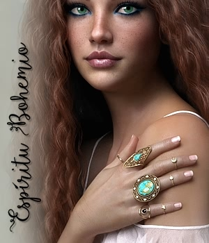 Espiritu Bohemio Rings for Genesis 8 Females 3D Figure Assets fabiana