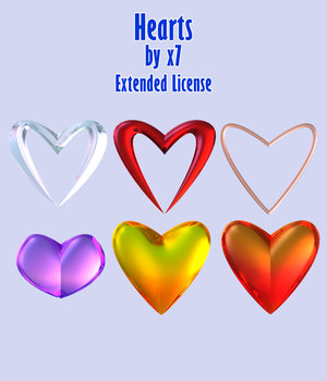 Hearts by x7 - Extended License 3D Game Models : OBJ : FBX 3D Models Extended Licenses x7
