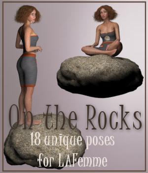 On The Rocks - Poses for La Femme 3D Figure Assets La Femme Female Poser Figure pixpax