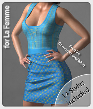 Louise Dress and 14 Styles for La Femme 3D Figure Assets La Femme Female Poser Figure karanta