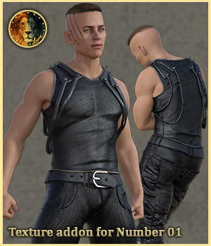 Texture addon for Number 01 outfit for G8M 3D Figure Assets Lyone