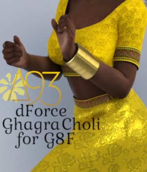 a93 - dForce Ghagra Choli for G8F 3D Figure Assets anjeli93