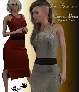 La Femme Cocktail Dress 3D Figure Assets La Femme Female Poser Figure zachary
