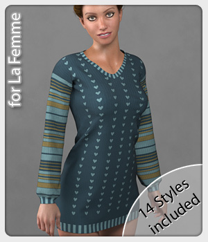 Cozy Sweater for La Femme 3D Figure Assets La Femme Female Poser Figure karanta