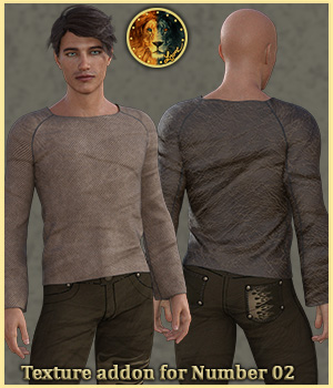 Texture addon for Number 02 outfit for G8M 3D Figure Assets Lyone