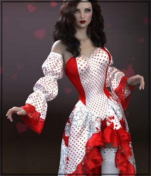Epic: dForce - Queen of Hearts for G8F 3D Figure Assets 3-DArena