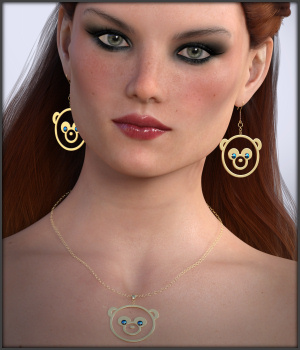 Pandamonium Earrings and Necklace G3F G8F 3D Figure Assets -Wolfie-