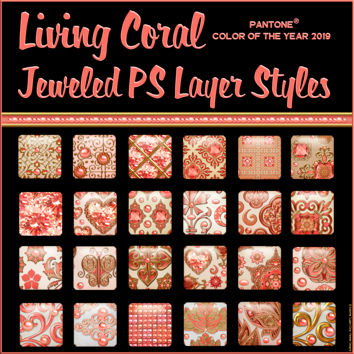 Living Coral JEWELED PS Layer Styles