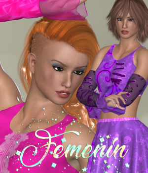 DA-Femenin for Cute N Sassy for La Femme 3D Figure Assets La Femme Female Poser Figure DarkAngelGrafics