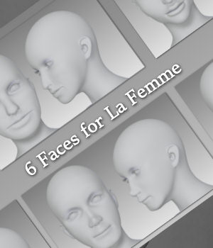 MR 6 Faces for La Femme 3D Figure Assets La Femme Female Poser Figure Merchant Resources Karth