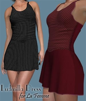 Ludmilla Dress for La Femme 3D Figure Assets La Femme Female Poser Figure zachary