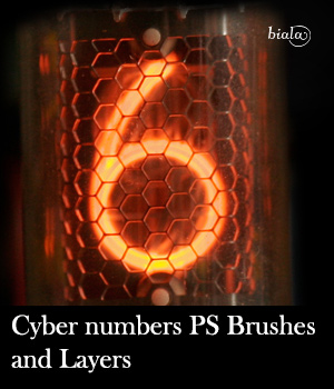 Cyber Numbers PS Brushes and Layers 2D Graphics biala