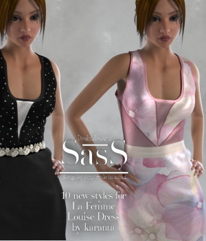 SasS Louise Dress La Femme 3D Figure Assets La Femme Female Poser Figure DivabugDesigns