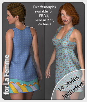 Isa Dress and 14 Styles for La Femme 3D Figure Assets La Femme Female Poser Figure karanta