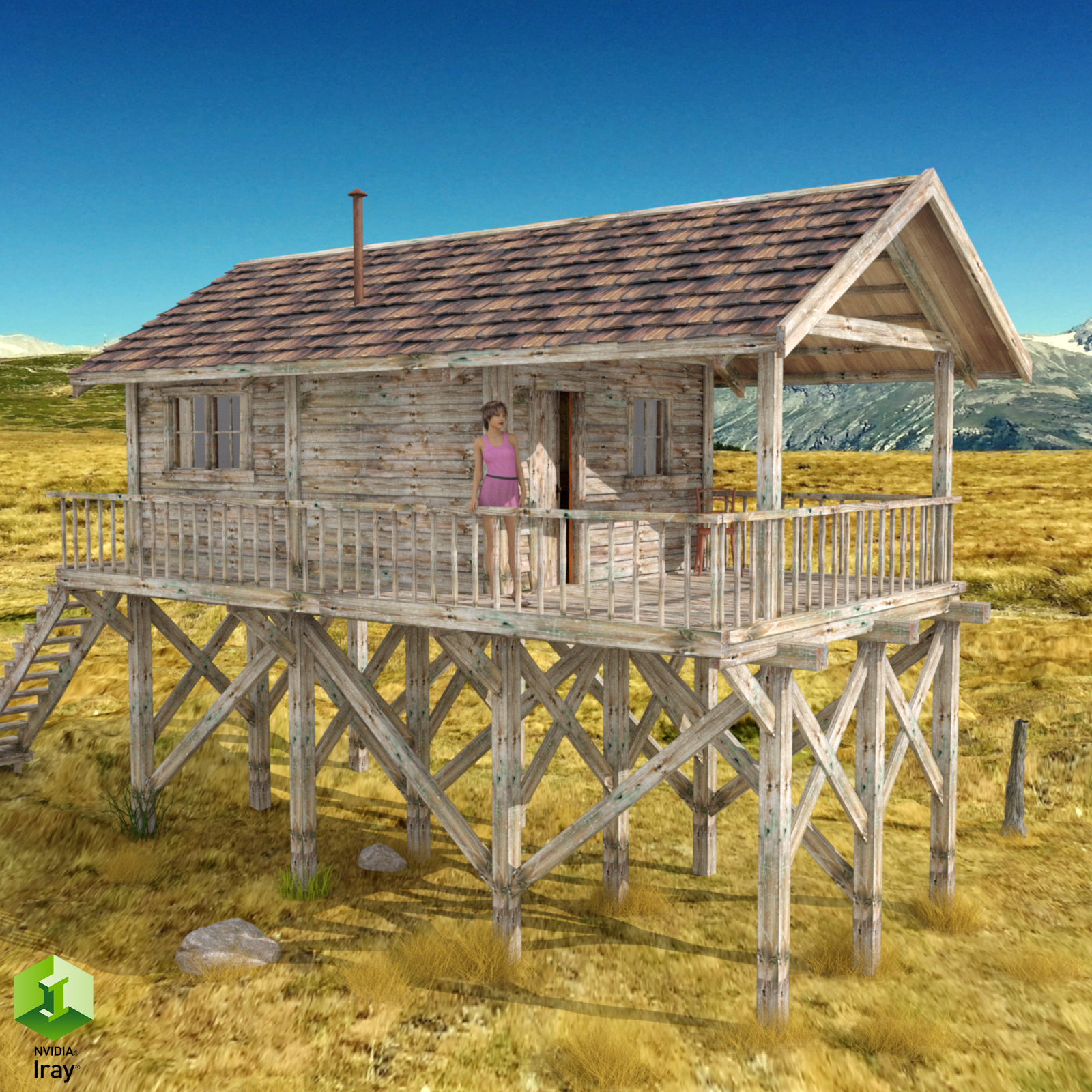 Wooden Cabin for Poser and DS