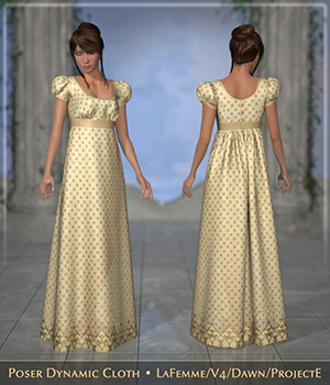 FRQ Dynamics: Regency Dress 3D Figure Assets La Femme Pro - Female Poser Figure Frequency