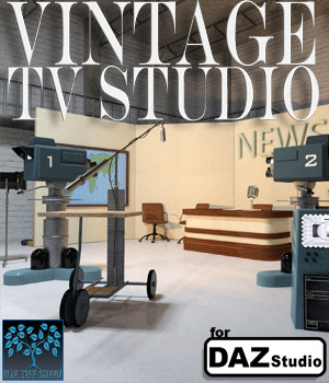Vintage TV Studio for Daz Studio 3D Models BlueTreeStudio
