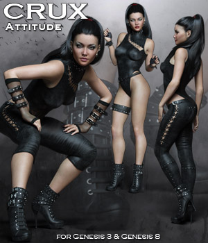 CruX Attitude for the Genesis 3 and Genesis 8 Females 3D Figure Assets Rhiannon