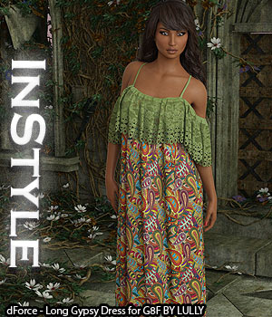 InStyle - dForce - Long Gypsy Dress for G8F 3D Figure Assets -Valkyrie-