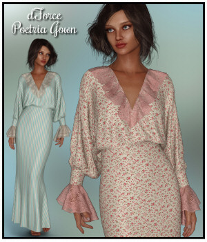 dForce - Poetria Gown for G8F 3D Figure Assets Lully