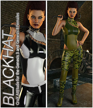 BLACKHAT - CruX Attitude for the Genesis 3 and Genesis 8 Females 3D Figure Assets Anagord