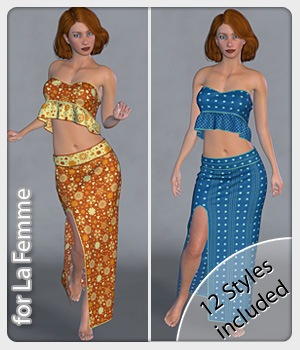Zara Set and 12 Styles for La Femme 3D Figure Assets La Femme Female Poser Figure karanta