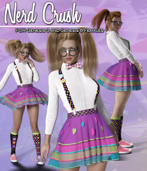 Nerd Crush for G3 and G8 Females 3D Figure Assets RPublishing