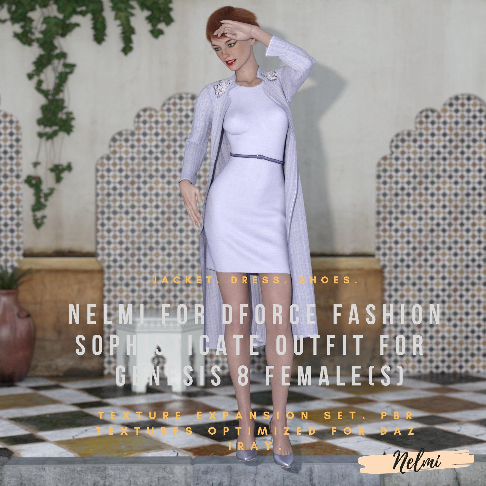 NELMI-dForce Fashion Sophisticate Outfit Textures for Genesis 8 Females