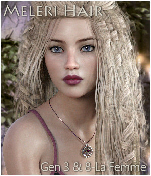 Meleri Hair for Genesis 3, Genesis 8 and La Femme 3D Figure Assets La Femme Female Poser Figure RPublishing