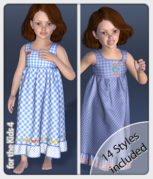 Lissy Dress and 14 Styles for the Kids 4 3D Figure Assets karanta