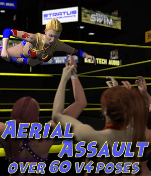 Aerial Attack Poses for V4 3D Figure Assets DexPac