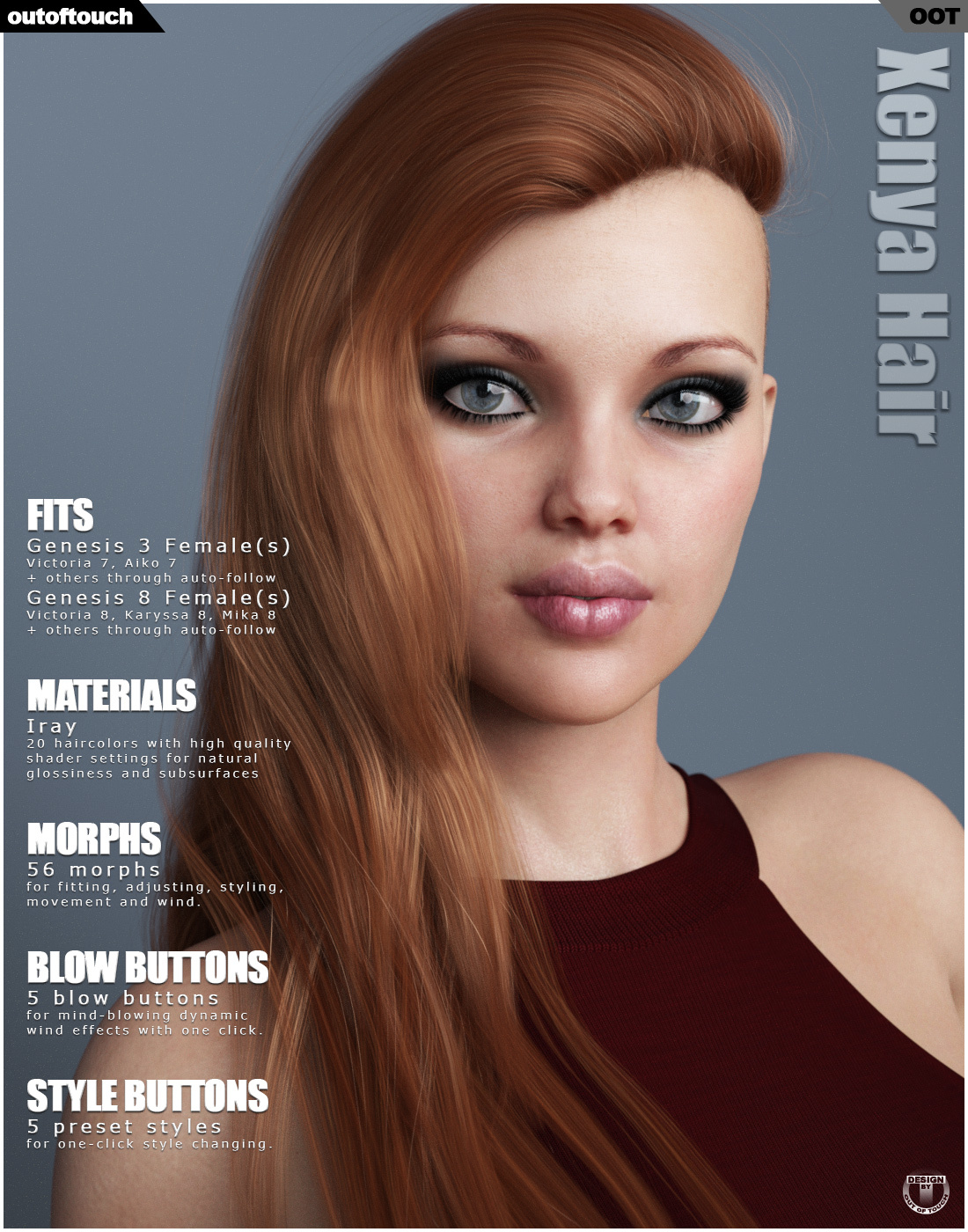 Xenya Hair for Genesis 3 and 8 Females by outoftouch