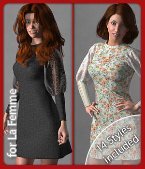 Maya Dress and 14 Styles for La Femme 3D Figure Assets La Femme Female Poser Figure karanta