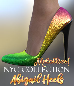 NYC Collection Metallics: Abigail Heels G8 3D Figure Assets 3DSublimeProductions