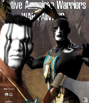 Native American Warrior War Paintings for G8M 3D Figure Assets pamawo