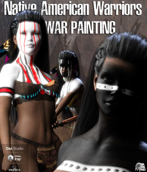 Native American Warrior War Paintings for G8F 3D Figure Assets pamawo