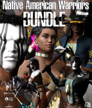 Native American Warrior Bundle DS 3D Figure Assets 3D Models pamawo