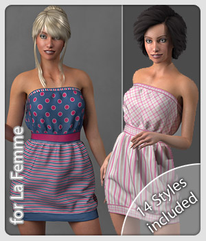 Cherry Dress and 14 Styles for La Femme 3D Figure Assets La Femme Female Poser Figure karanta