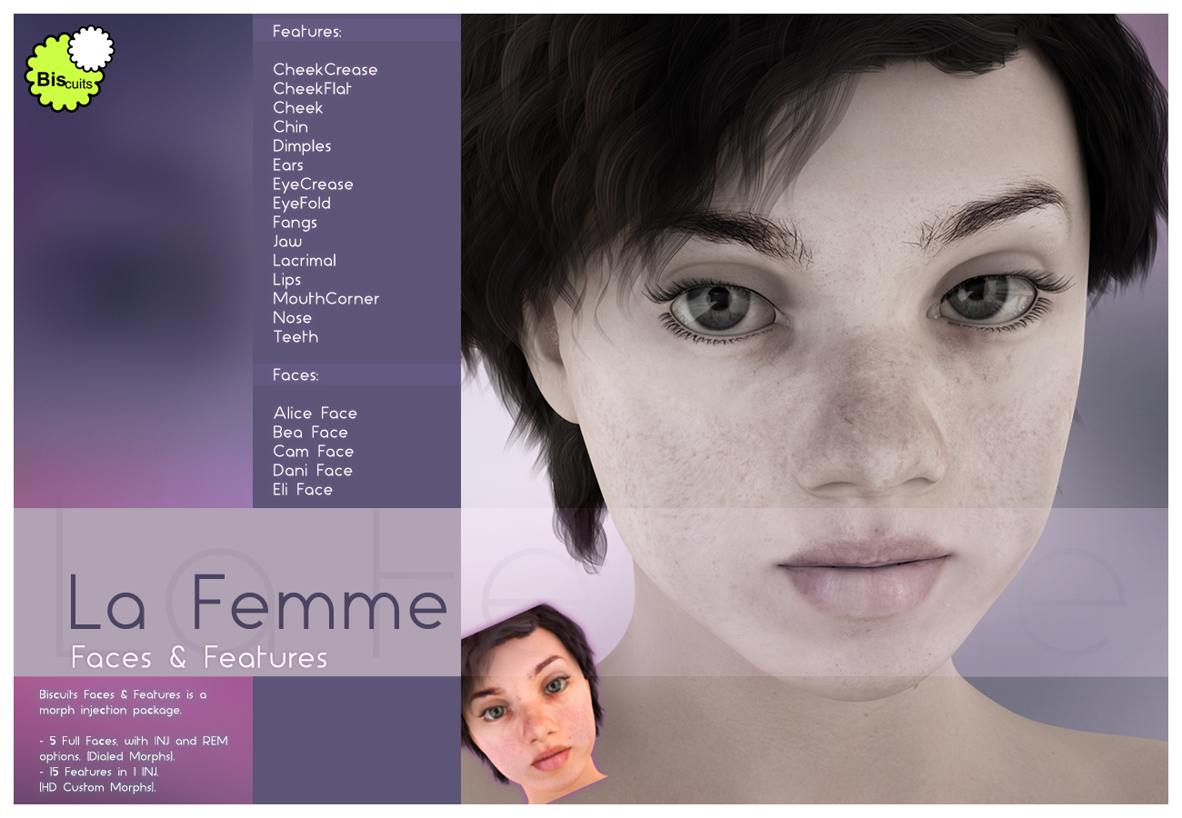 Biscuits Faces & Features for La Femme