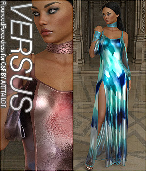 VERSUS - Flounce dForce dress for G8F 3D Figure Assets Anagord