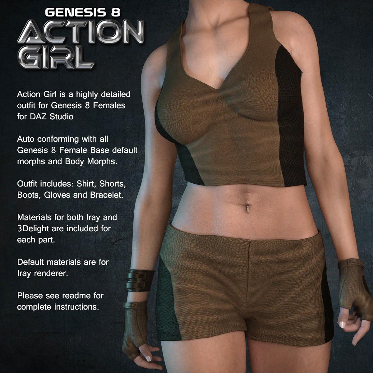 Exnem Action Girl for Genesis 8 Female by exnem